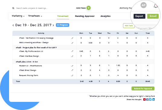 online time tracking software timesheet management for teams ntask