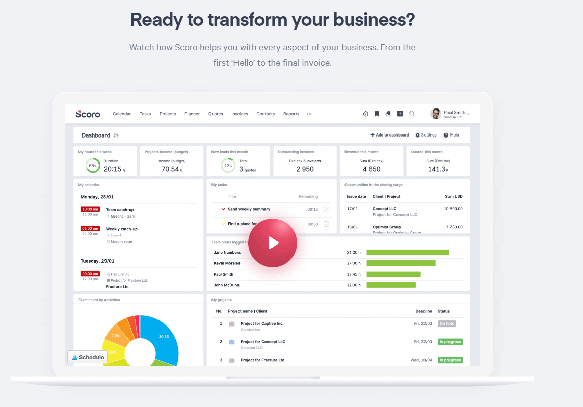 Scoro: task management software