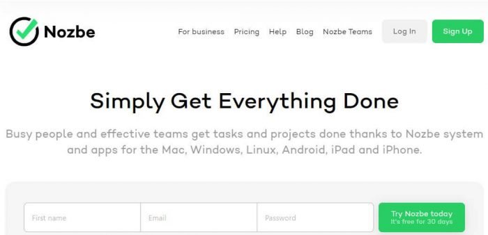 Nozbe: Simply Get Everything Done