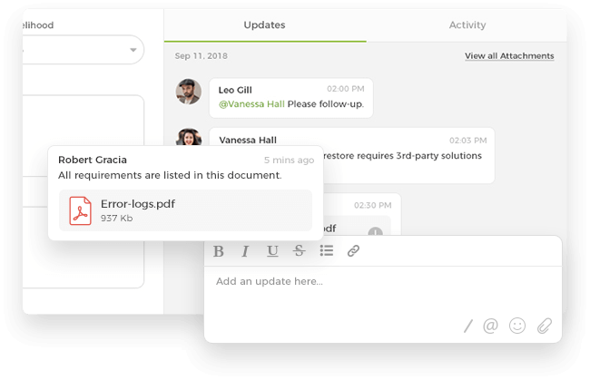 File attachments for effective collaboration