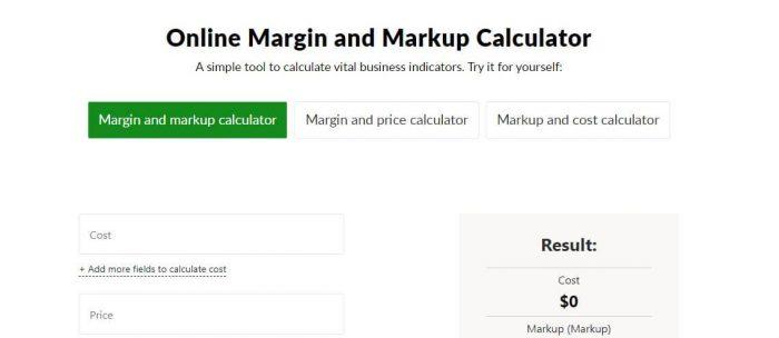 logaster profit margin and markup calculator