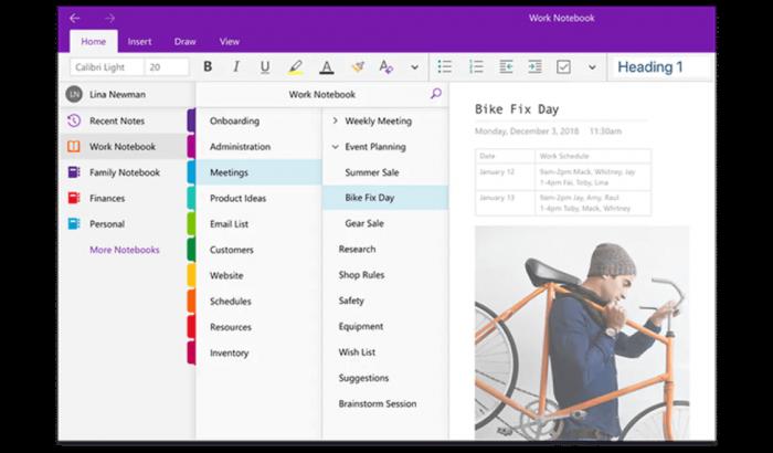 Microsoft OneNote dashboard