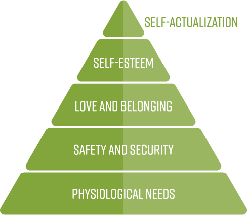 5 levels of Maslow's Hierarchy of needs