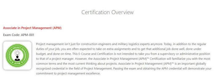 APM - Project management certification