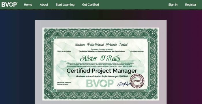 BVOP project management certification