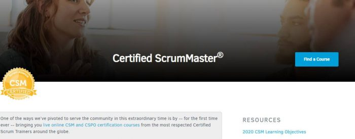 Certified scrum master - project management certification