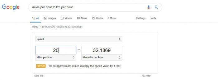 Google Speed conversion