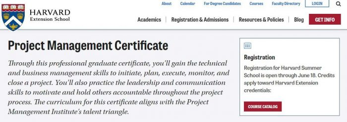 Harvard - project management certification
