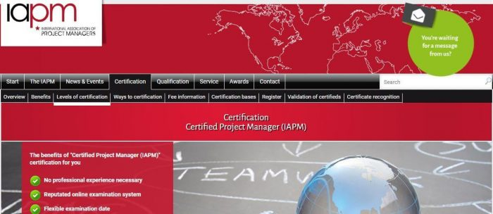 IAPM - project management certification
