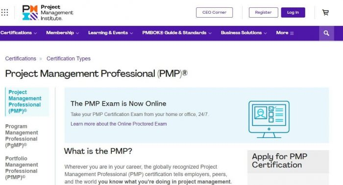 PMP project management certification
