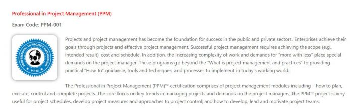 PPM - project management certification