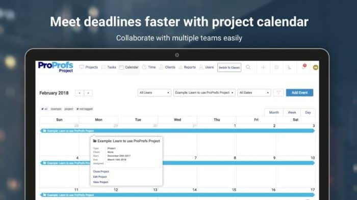 ProProfs project planning tool