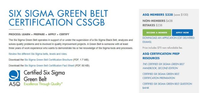 Six Sigma Green Belt- Project Management certification