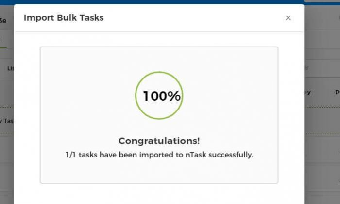 Import task complete