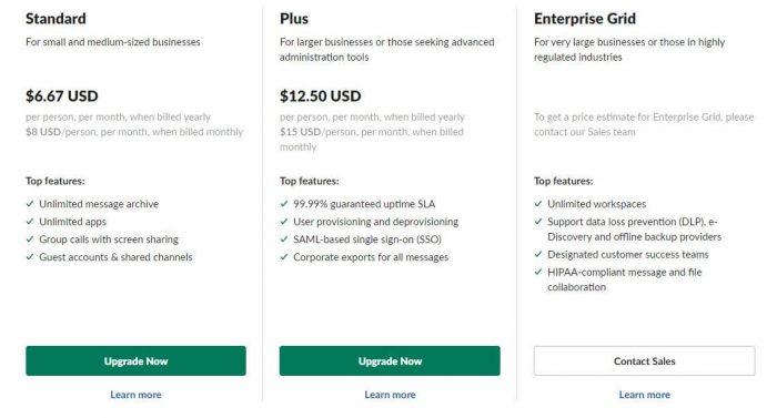 Slack vs Microsoft Teams - Slack pricing