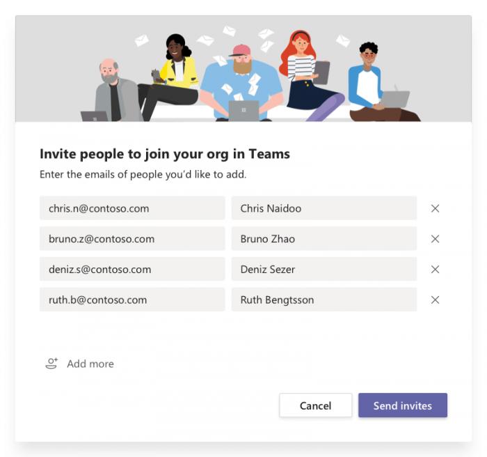 invite members on Ms teams